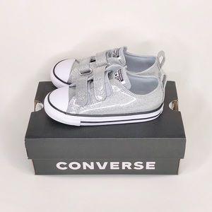 New Converse kids glitter velcro strap silver